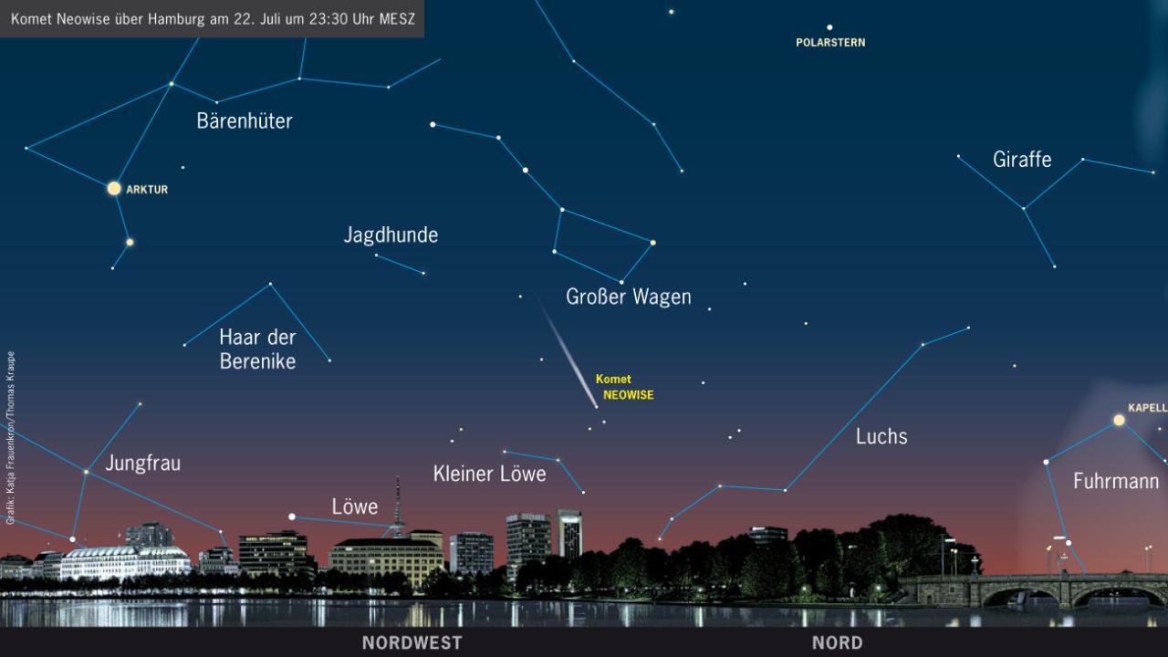 Für Hamburger hat das Planetarium diese Himmelskarte erstellt – so finden Himmelsgucker den Kometen ganz sicher