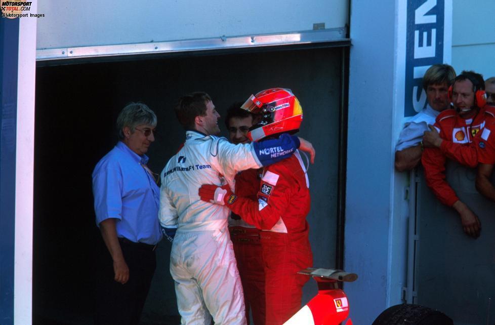 10. Frankreich 2001, Ralf Schumacher gegen Michael Schumacher - 0,010 Sekunden: Ralph (Williams-BMW) kann seinen Bruder Michael (Ferrari) am Magny-Cours um genau eine Hundertstelsekunde schlagen.  Am Sonntag dreht der Weltmeister jedoch den Spieß um und gewinnt vor seinem kleinen Bruder.