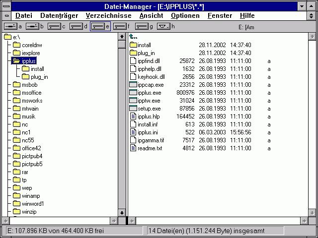 Dateimanager unter Windows 3.1