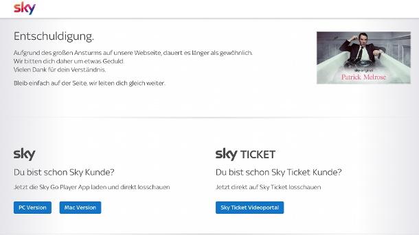 Nachricht auf der Sky-Website.  (Quelle: t-online.de/Martin vs.)