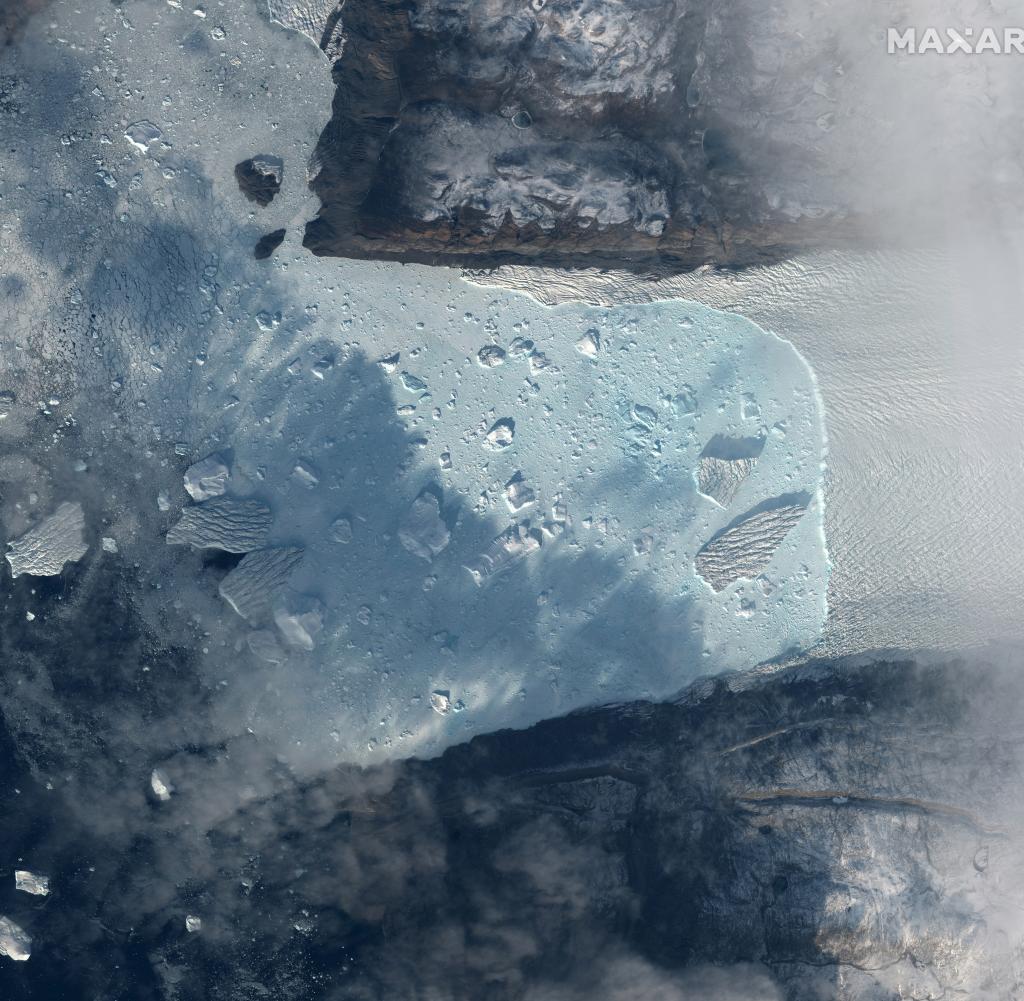 Satellitenbild des Tracy-Gletschers in Grönland